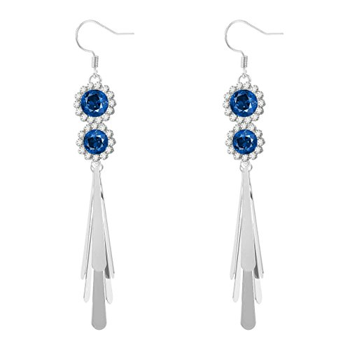 925 Sterling Silver Gemstone Long Dangle Hook Earrings ()
