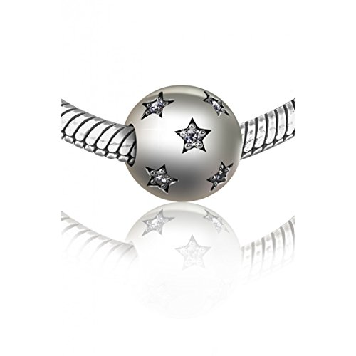 Solid Sterling Silver Star Barrel Snap Round Ball Bead Clasp with pave CZ (Pave Clasp Ball)