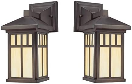 Westinghouse Lighting 6732800-2pack Westinghouse 6732800 Burnham One-Light Exterior Wall Lantern on Steel with Honey Art Glass, Oil Rubbed Bronze Finish 2 Pack