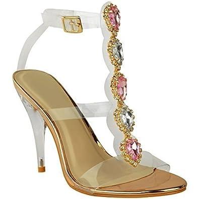 Fashion Thirsty Damen High Heels mit Perspex-Riemen und Schmucksteinen