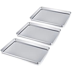 TeamFar Baking Sheet, Stainless Steel Baking Pan Cookie Sheet, Healthy & Non Toxic, Easy Clean & Dishwasher Safe