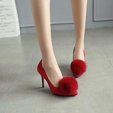 Talones de las mujeres Primavera Verano Otoño Invierno Otro de cuero oficina y carrera Fiesta y Noche Tacón de Aguja de vestir Negro Rojo Gris Red