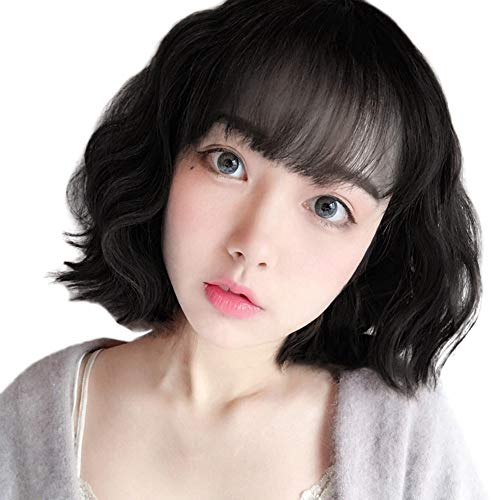 Anboo Short Bob Wig Party Custome Daily Synthetic Wavy Wigs Brown Black Natural Hair Wigs Female Resistance Fiber Synthetic Wigs