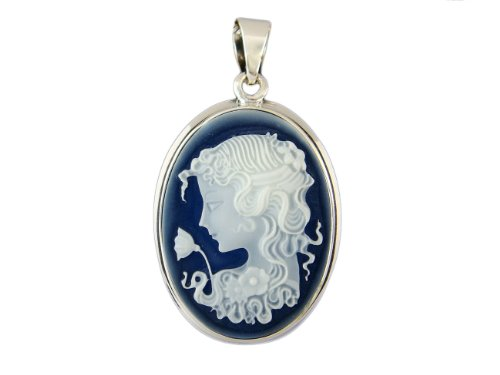 (925 Sterling Silver Deco Antique Lady Blue Cameo Oval Charm Pendant 3gr)