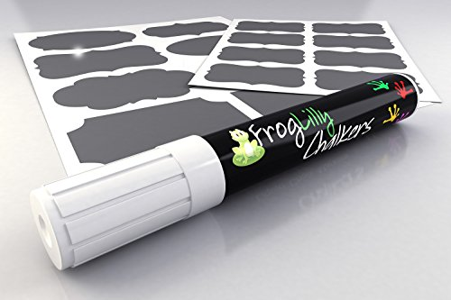 Premium White Liquid Chalk Marker w/ 32 Reusable Chalkboard Labels - Reversible Tip (6mm) & Bonus Creative Idea Ebook