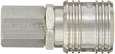 """Eaton Hansen LL1000 Stainless Steel ISO-B Interchange Ball Lock Pneumatic Fitting, Socket, 1/4""""-18 NPTF Female, 1/4"""" Port Size, 1/4"""" Body"""