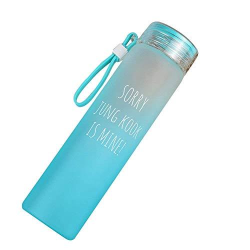 Believe Me 12oz BTS Lemon Water Bottle Kpop BTS Bangtan Boys Summer Girls Frosted Glass Cup Cap with Silicon Loop (Jun Kook Green)
