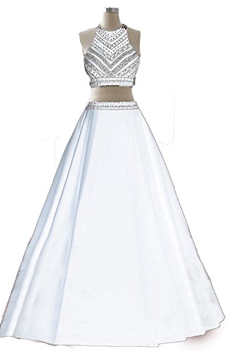Dresses Prom Beaded Party Two White BD237 Gown Evening BessDress Long Piece qF4B77w