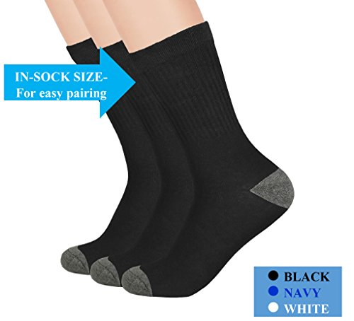 The Right Fit Little Boys Cotton Sports Uniform Ribbed Crew Style Dress Socks- Black, 5 1/2-6 1/2, 3Pk