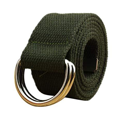 [해외]Toimothcn 캔버스 웹 더블 D 링 벨트 실버 버클 밀리터리 스타일 남성 및 여성용 / Toimothcn Canvas Web Double D Ring Belt Silver Buckle Military Style for Men & Women (Army Green,120)