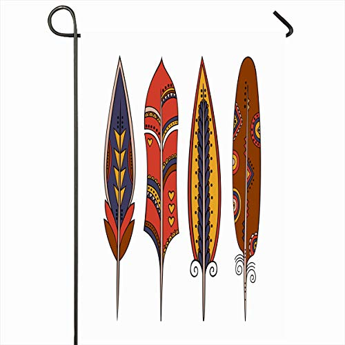 Ahawoso Outdoor Garden Flag 12x18 Inches Sketchy Hand African Feathers Boho Nature American Amulet Bird Bohemian Catcher Tattoo Zen Home Decor Seasonal Double Sides House Yard Sign Banner (Boho Birds House Flag)
