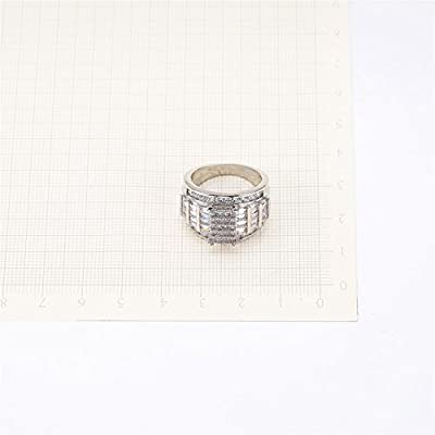 Jemmin New Stylish Wedding Ring Geometric White Clear CZ Band for Women Men Gift Silver Jewelry