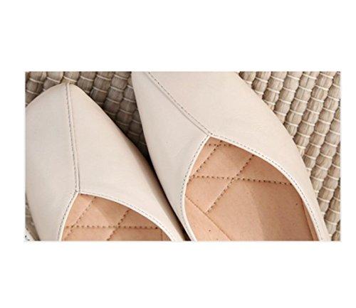 Zapatos de de con Tamaño Plana de Cabeza Zapatos Cuero de Blanca Solos Retro Suave V Abuela Boca Gran Mujer ZHZCxqr