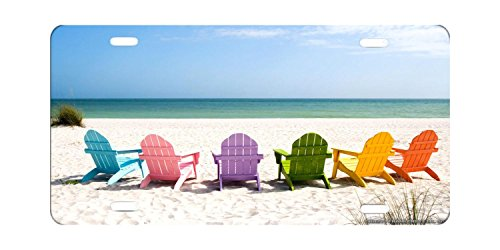 DQVWGK Beach Chairs On A Sun Beach Custom Aluminum License Plate Frames Cover For Car License Plate Cover With 4 Holes Car Tag 6