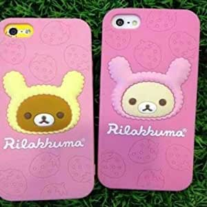 Little Bear Tasty Strawberry Silica Gel Soft Case For iPhone 4 4S --- Color:Pink