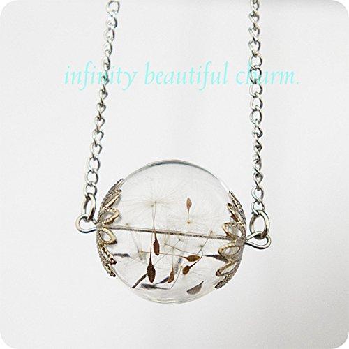 Dandelion Mini Orb Silver Make a Wish Dandelion Pendant Seed Glass Transparent Flower Botanical Petite Small Version Necklace Wish Pendant