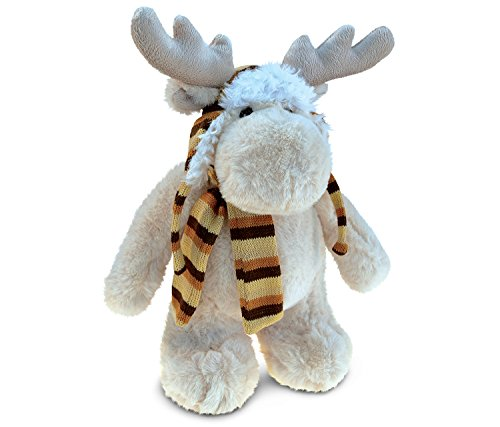 (Puzzled Standing Moose Soft Stuffed Plush Cuddly Animal Toy With Clothes - Animal Theme - 13.5 INCH - Unique huggable loveable New friend Gift - Item #5311)
