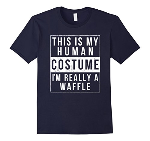 Mens I'm Really a Waffle Costume Halloween Shirt Easy Funny Idea Large Navy