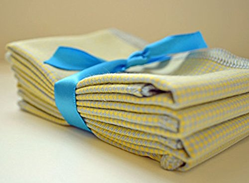 Gentleman's Casual Hankie Soft, Brushed Cotton Handkerchiefs Medium 12x12 inch size, Set of Four Yellow and Blue Houndstooth