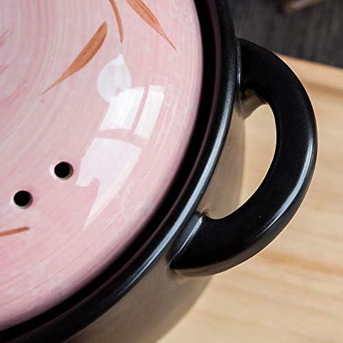 xcxc Marmite en céramique à Motif de Fleurs Profondes, Casserole en céramique Ronde avec Couvercle, Pot en Argile cuiseur en Terre Cuite Batterie de Cuisine Saine Rose 2.64Quart