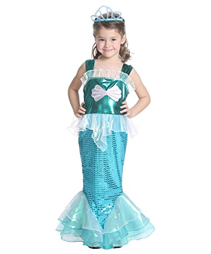 JFEELE Girls Sequins Little Mermaid Costume (8-10 Year) (Baby Costumes Girl)