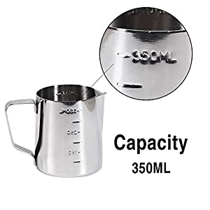 Coffee Milk Frothing Pitcher Cup with Measurement Inside Thermometer set 12oz/350ML Stainless Steel Steaming Pitcher Tool for Cappuccino Machines Espresso Pitcher Latte Art
