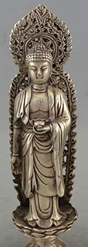 (Viet JK Bronze Statue - Antique Bronzes Tibet Silver Western Three Saints, Bodhisattva Guanyin, Shakya Muni Buddha Statue 1 Pcs - Large Sitting Buddha Statue)