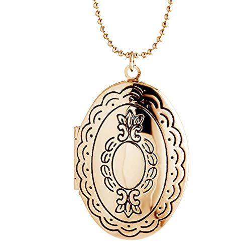 Simple Heart Locket Necklaces Pendant Lockets Dog Paw for Women Girl That Hold Pictures Jewelry (Oval Lace-Like-3)