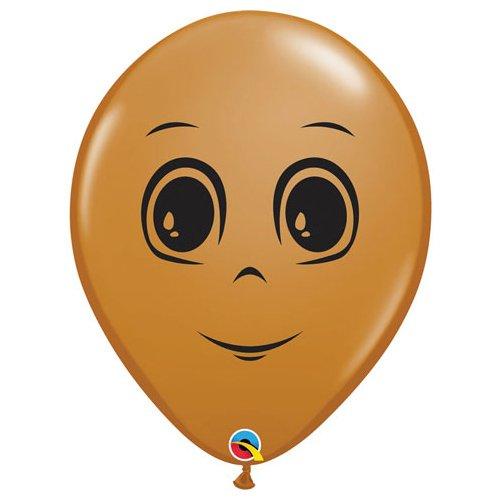 16, Mocha Brown Qualatex Latex Balloons 49885-Q Masculine Face