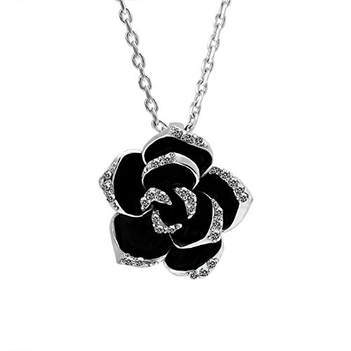 Scheppend Gold Plated Rose Flower Black paint Rhinestone Crystal Pendant Necklace(Platinum)