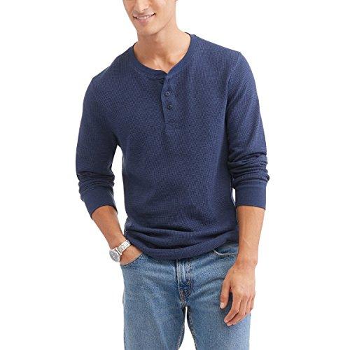 Glory Mens Shirt (Faded Glory Men's Long Sleeve Waffle Thermal Henley Top/Shirt - Big Sizes (2X-5X) (Indigo Heather, 3X))