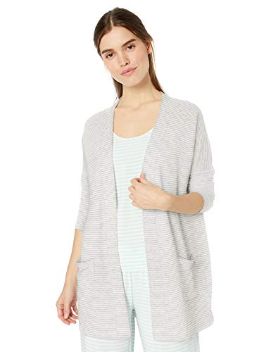 Amazon Essentials Women's Lightweight Lounge Terry Open-Front Cardigan , -grey heather stripe, X-Large