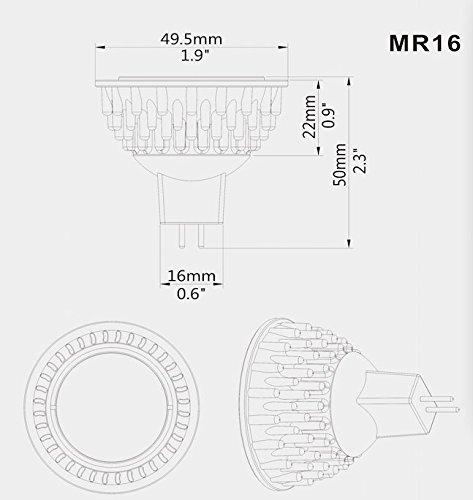 Sunthin 4.5W MR16 Led Bulb, Warm White, 50w Equivalent, Perfect Standard Size, Recessed Lighting, MR16 LED, LED spotlight, 320lm, 45°