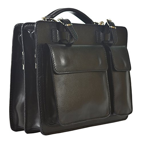 Leather Black Business Genuine Organizer Italian Italy D7006 Unisex's Made Bag Cm Briefcase Ctm In 35x25x12 gZaq86wx