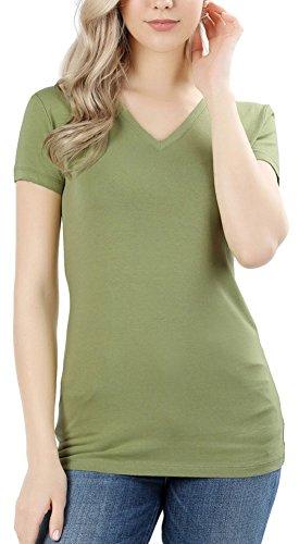 (ToBeInStyle Women's Short Sleeve V-Neck Basic T-Shirt - Sage - XL)