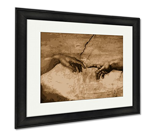 Ashley Framed Prints Michaelangelos The Creation Of Adam, Office/Home/Kitchen Decor, Sepia, 30x35 (frame size), Black Frame, AG6044026