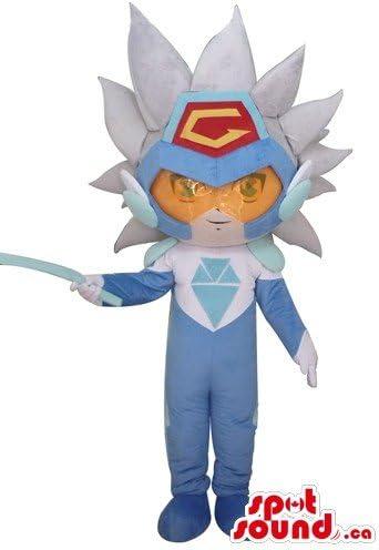 オレンジとブルーのドレス漫画SpotSoundマスコットカナダ仮装でスーパーヒーロー