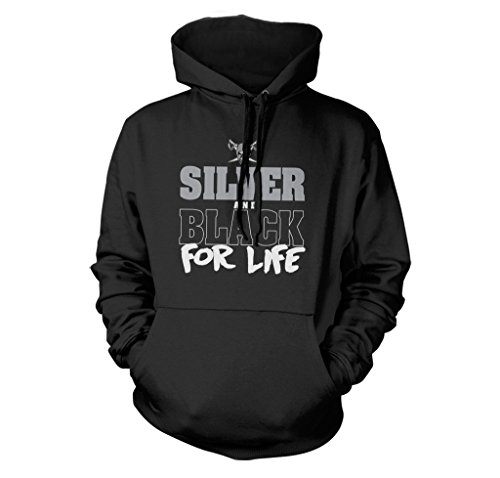 FreshRags Silver and Black For Life Oakland Thug Life Fan Hoodie LG Black ()