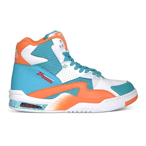 British Knights Control HI Men's Hi-Top Leather SneakerWhite/Sour Blue/S Orange, 8.5