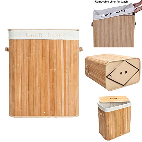 UpZoneUS Laundry Basket,2 Sections Collapsible Laundry Basket Bamboo Laundry Bag Folding Clothes Storage Hamper Bin Organizer Sorter with Lid and Removable Lining Wood Color