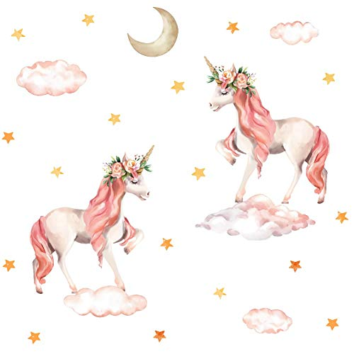 TOARTi Pink Unicorn Wall Decal, Horse Unicorn Sticker with Clouds Moon Star Decal,Fairytale Wall Decals for Girls Bedroom Home Decor