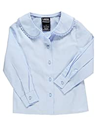 French Toast Little Girls' L/S Blouse with Lace Edging
