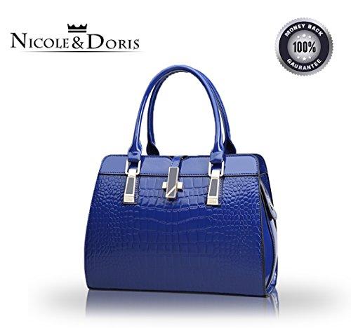 (Nicole&Doris ladies handbags new fashion patent leather shell portable shoulder Messenger bag for women(Sapphire))