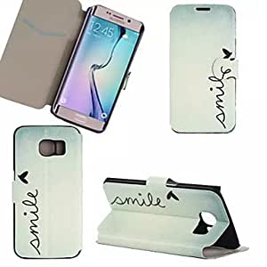 New Simple Word Color Pattern Leather Case for Samsung GALAXY S6 Edge