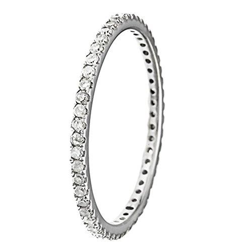 10k Rhodium-Plated White Gold Eternity Diamond Wedding Band (1/3 cttw, I-J Color, I2-I3 Clarity) by Instagems (Image #1)