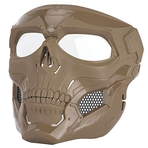 Anyoupin Airsoft Mask,Full Face Masks Skull Skeleton with Goggles Impact Resistant Army Fans Supplies Tactical Mask for Halloween Paintball Game Movie Props Party and Other Outdoor Activities(Tan)