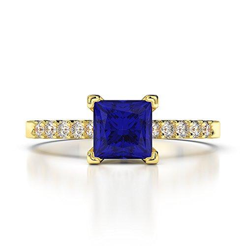 Or jaune 18carats 1CT G-H/VS Certifié saphirs et diamants taille princesse Bague de fiançailles Agdr-1210