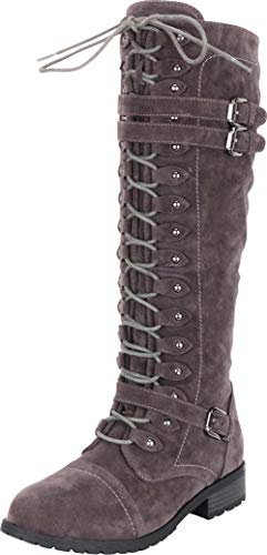 (Cambridge Select Women's Lace-Up Strappy Knee High Combat Stacked Heel Boot,11 B(M) US,Charcoal IMSU)