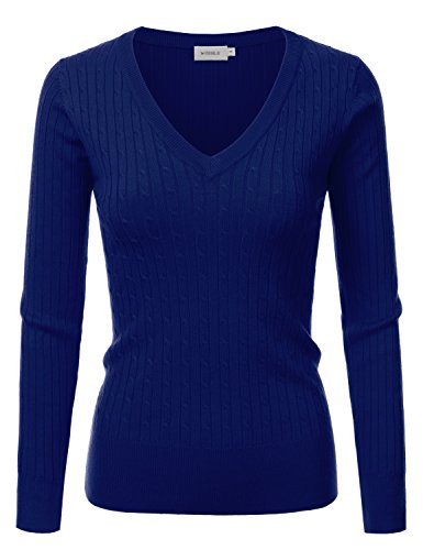 Doublju Slim Fit Twisted Cable Knit V-Neck Sweater For Women ROYALBLUE (Blue Cable Knit Sweater)