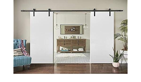 Planum 0010 - Puerta corrediza doble de madera para granero (seda blanca): Amazon.es: Bricolaje y herramientas